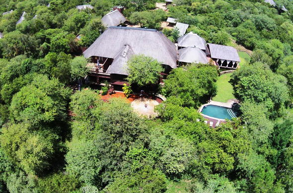 Aerial view of Grand Kruger Lodge.