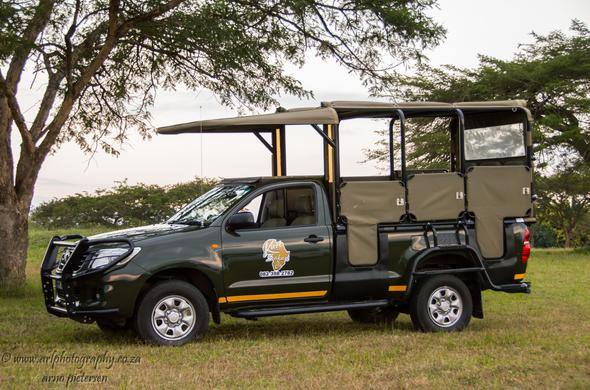 Kruger National Park guided game drive safari vehicle.