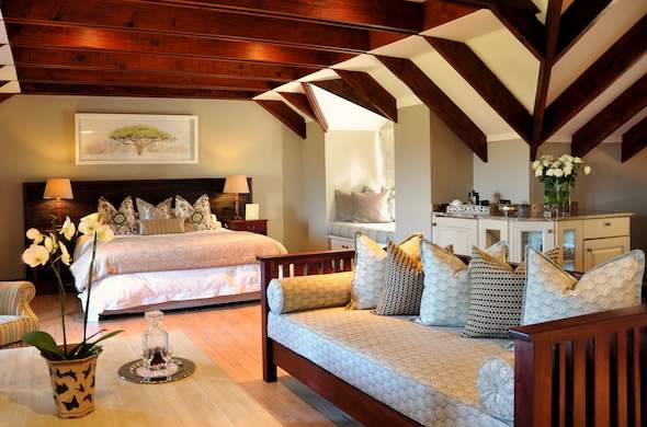 Luxurious accommodation is offered at Olivers Restaurant & Lodge.
